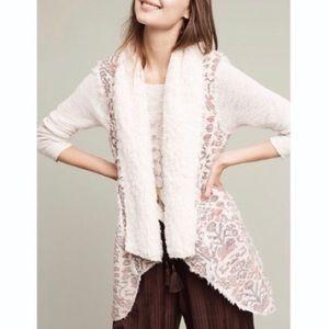Anthropologie Hei Hei Aztec Print Faux Fur Vest L
